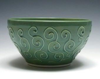 Green Bowl with Raised Swirl Design