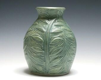 Matte Green Vase with Carved Leafy Vines