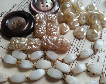 Natural Material Beads Buttons ... Vintage ... Creamy Glass Buttons and Beads, Shell Buttons