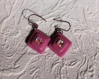 Pink Fused Dichroic Glass Earrings With Purple Anodized Earwires