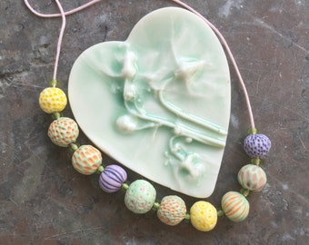 Summer seed pods handmade porcelain bead necklace -sale