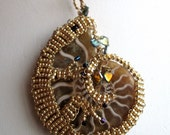 Wire Wrapped Ammonite with Hand Beaded Lizard Pendant