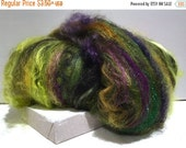 "Tour De Fleece SALE 2016 Spinning batt, felting wool fiber, roving ""Wicked"" fiber art batt black, olive hunter lime yellow green gold brown"