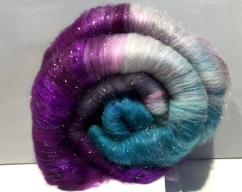 "fiber art batt, wool, felting, spinning, Roving, ""Patti's Passion"", purple, lavender, teal, grey, turquoise, nuno felting, hand spinning"