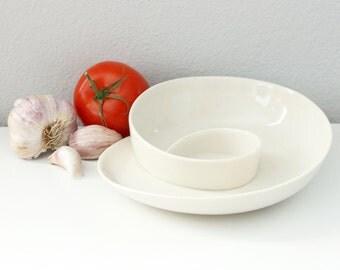 Porcelain Whirl Olive Dish - Ceramic Serving Dish Small - Unique Tableware