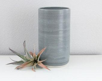 MOVING SALE Modern Cylinder Vase Blue Grey