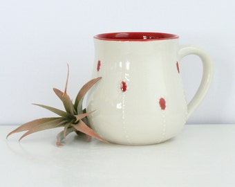 Large Pottery Mug in Red - Mug with Dotted Red Accents - 12 Ounce Mug