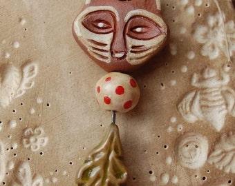 Foxy / Ceramic Fox and Leaf Bead Set