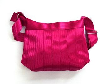 The Parenthesis Bag in Pink - Raspberry Seatbelt Bag - Cross-body Seatbelt Purse - Adjustable Strap / Shoulder Bag
