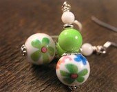 SALE-Choice of 4 colors-Spring flowers glass and stone handmade silver earrings