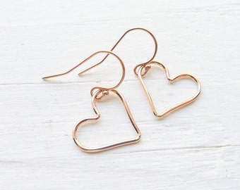 Open Heart Earrings in Rose Gold Filled Wire Heart Shaped Dangle Earings Gift for Someone You Love