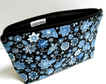 Large Padded Cosmetic Bag Flat Bottom Zipper Pouch Clutch ECO Friendly Dark Floral NEW