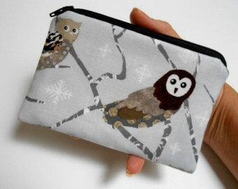 SALE Owls Little Zipper Pouch Coin purse ECO Friendly Padded NEW Shades of Silver Owls
