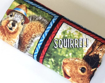 Baby Boy Quilt Squirrels Woodland  Nursery Bedding Travel Quilt Blanket