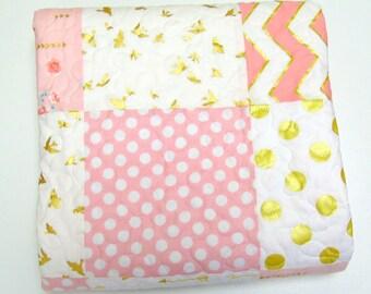 Baby Girl Quilt Blush Pink White with Gold Metallic Shimmer Glitz  Nursery Bedding Crib Bedding Chevron