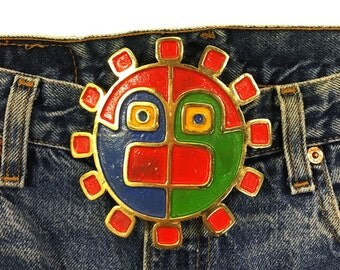 HUGE Sun Buckle / Vintage 1960s Tribal Belt Buckle with Mexican Inspired Sun Face / Big Mayan Tribal Mask Buckle