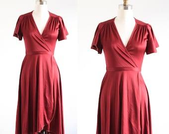 Vintage Burgundy Wrap Dress