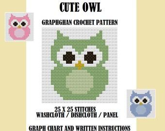 Cute Owl - Graphghan Crochet Pattern / Washcloth / Dishcloth / Panel