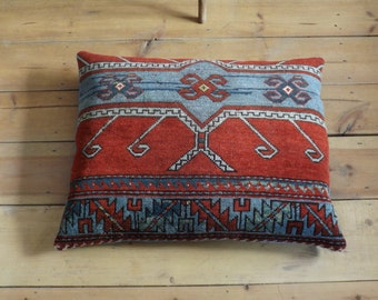 Antique Caucasian rug pillow cushion