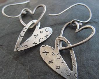 Silver Heart Earrings Stamped Silver Dangling Earrings Funky Dangle HEART Earrings Funky silver jewelry Love Jewelry Girlfriend Gift