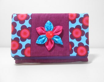 Purple Foldover Clutch with Pockets and Kanzashi Flower, Purple Fold Over Clutch