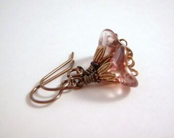 Pink Lustre Earrings 11 x 8 Glass Flower Vintaj Brass Ear Wire Handmade