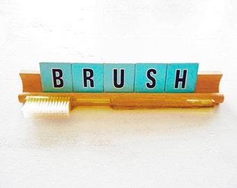 Scrabble Junior Saying BRUSH Display Sign Brush Your Teeth Reminder