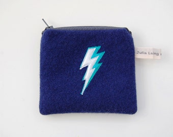 Navy Wool Coin Purse - with Lightning Bolt Design in Silver and Turquoise Applique