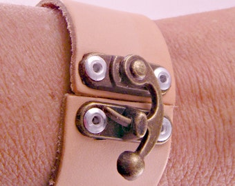 Steampunk Industrial Leather Cuff and Hinge Bracelet 7 Inches