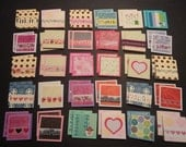 60 little mini notecards, lunch box love notes, mini shop notecards, tiny mixed lot notecards, 2 x 2 mini notecards, blank notecards, lot 2