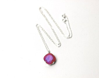 Watermelon Pink Matte Crystal Necklace Classic Sparkling Solitaire Swarovski Sterling Delicate Diamond Drop Simple Teardrop Strawberry Gold