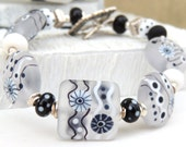 Black Ice Handmade Lampwork Bead Bracelet