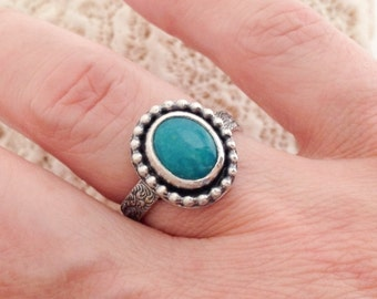 Turquoise Stacking Ring Size 6 1/4 or 7 1/4 Artisan SilverSmith Kingman Turquoise Stone Ring Sterling Silver Floral Botanical Solitaire Ring