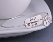 Grandma Jewelry, Silver Best Grandma Ever Bracelet, Grandmother Christmas Gift, Engraved Bangle Bracelet