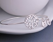 Tree of Life Bracelet, Family Tree Jewelry, Sterling Silver Tree Bangle Bracelet, Gift for Grandma