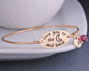 Gold Love You to the Moon and Back Bracelet, Personalized Mother's Day Gift, Bangle Bracelet