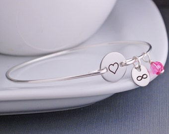 Heart Jewelry, Love Bracelet,  Heart Bangle Bracelet, Personalized Wife Gift, Anniversary gift for Wife