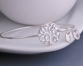 Tree of Life Bracelet, Family Tree Jewelry, Sterling Silver Tree Bangle Bracelet, Gift for Grandma