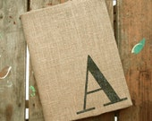 Classic Monogram Journal - Monogrammed Burlap Journal Cover w. Notebook - Personalized Journal - Journal Lined  or Journal Blank