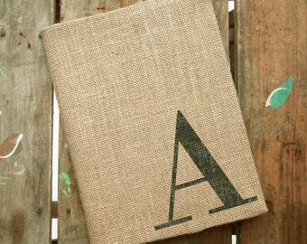 Classic Monogram Journal - Monogrammed Burlap Journal Cover w. Notebook - Personalized Journal Initial  - Journal Lined  or Journal Blank