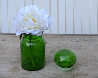 Small Green Apothecary Jar made in Belgium - Royal Hill Vintage