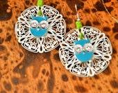 Silver Tone Filigree Earrings, Owl Earrings. Reserved for LORRAINE