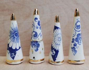 Ceramic Ring Cone - Blue White Gold - Ring Holder - Modern Ceramics