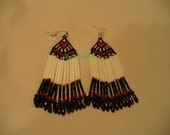 Happy Valentines Day brick stitched earrings in black red and white
