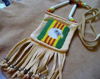 Native American Style loom beaded Vietnam Veterans Eagle Amulet bag/Medicine bag