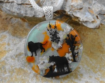 Big Cat Lion Pendant, African Inspired Glass Necklace, Mom and Me Fused Glass Pendant, Stone Look Glass Pendant - Safari Scene Glass Pendant
