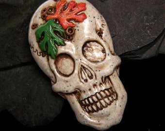 Skull with fall Leaves Skeleton Head Face CAB Handmade Polymer Clay focal piece