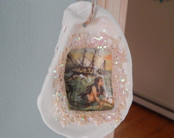 50% off Mermaid Oyster Shell Ornament/holiday/summer/wedding/home decor