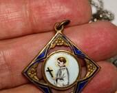 Antique Enamel Rare Vintage Saint St Gerard Majella Brass Bronze Diamond Shape Religious Medal Pendant