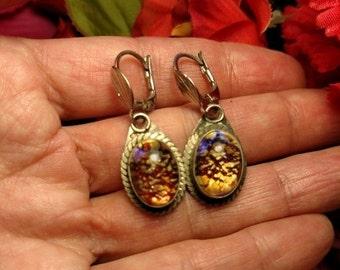 FLASH SALE Vintage Boho Glass Jewel Opal Multi Color Silver Drop Earrings Pierced Costume Similar To Dragons Breath